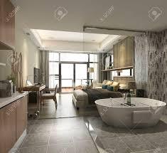 chambre avec baignoire chambre d hôtel de suite de luxe de rendu 3d avec baignoire et