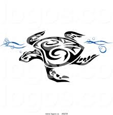 royalty free clip art vector logo of a black and white tribal sea