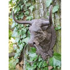 wall mounted bull with hanging ring cast iron metal cow