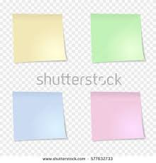 yellow blue green pink sticky note stock vector 577632733