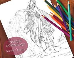 gothic halloween fairy coloring page digi stamp fantasy