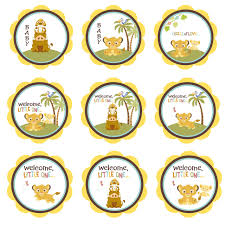 baby lion king baby shower simba lion king shower cupcake toppers baby shower gift tags