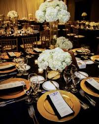 black and gold wedding ideas black and gold wedding table white flowers decorations