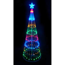 4 multi color led light show cone tree lighted yard