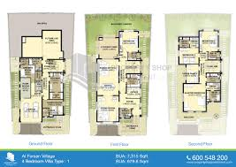 floor plans of al forsan village 4 bedroom villa 7315 sqft