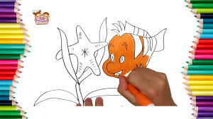 how to draw fish and starfish coloring pages kids songs learn