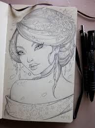winter geisha moleskine sketch by sabinerich on deviantart