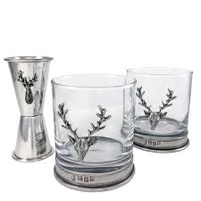 Old Fashioned Gift Set The Richmond Stag Whisky Tumbler And Measure Gift Set