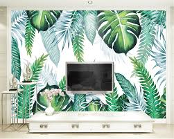 painted wall murals promotion shop for promotional painted wall beibehang custom modern simple 3d wallpaper hand painted tropical plant leaf background wall murals papel de parede wall paper