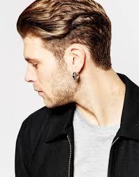 men earings lyst asos hoop earrings with color insert in metallic for men