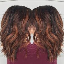 brunette hairstyle with lots of hilights for over 50 red brown balayage by rebecca at avante salon and spa west