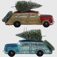 woody car christmas ornaments set of 2 antique farmhouse