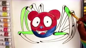 colorful spider gummy bear coloring pages for kids learn to draw