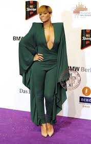 rihanna jumpsuit spotted rihanna in a green jumpsuit at the 19th echo awards in