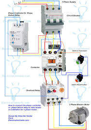 3 phase magnetic motor starter and wire diagram with three wiring