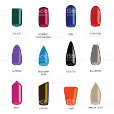 set of different shapes of nails on white nail shape icons