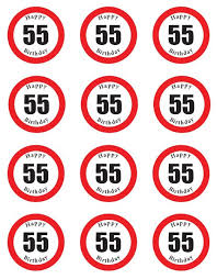 55th Birthday Quotes Buy Pre Cut Happy 55th Birthday Sign Edible Rice Wafer Paper Cup