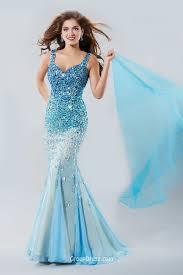 mermaid sleeveless v back sparkly beaded long blue prom dress