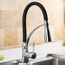 led kitchen sink faucet black chrome plated cold pull out