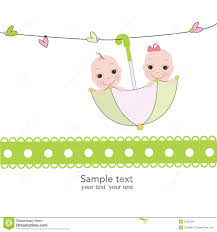 twin baby boy and with umbrella baby shower card stock vector