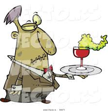 halloween party clipart vector of a cartoon zombie waiter serving drinks at halloween