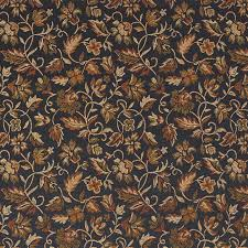 Drapery And Upholstery Fabric Black Gold Green Orange Floral Damask Upholstery And Drapery