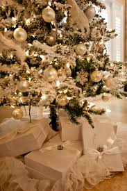 flocked christmas trees christmas lights decoration