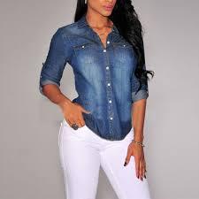 denim blouses regular fitted folding sleeve denim shirt blouse
