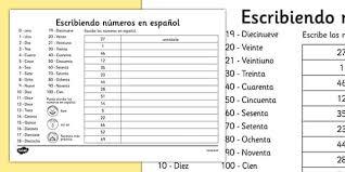 writing spanish numbers worksheet spanish languages eal