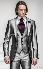 groom wedding new style one button shiny silver grey groom tuxedos groomsmen