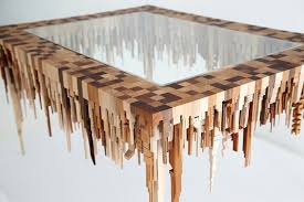 wood geometric geometric wooden sculptures depict abstract cityscape formations