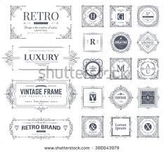 collection vintage flourishes calligraphic ornaments frames stock