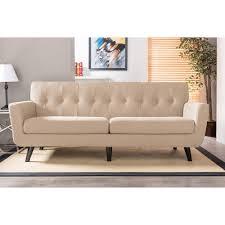 retro leather sofas baxton studio oscar mid century retro modern beige linen fabric
