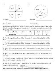 Experimental Probability Worksheet Lesson 11 2 Experimental Probability