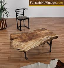 Rustic Industrial Coffee Table Gum Wood Slab Coffee Table By Funktionhouse Use As A Coffee Table