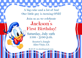 First Birthday Invitation Cards For Boys Donald Duck Invitation 1st Birthday Invitation Kid U0027s