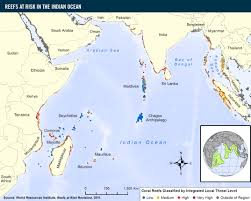 India Regions Map by Reefs At Risk In The Indian Ocean World Resources Institute