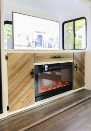 custom rv media cabinet with tv lift and electric fireplace youtube
