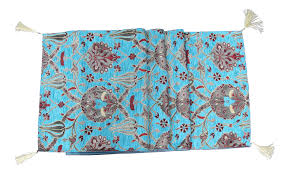 Ottoman Tulip by Ottoman Turquoise Floral Tulip Table Runner Or Bed Throw 117