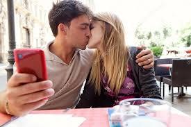 Take A Selfie Couple Take A Selfie Photo While Kissing U2014 Stock Photo Mjth