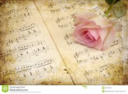 vintage style pink rose with music notes stock images image