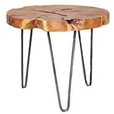 wood table with metal legs teak wood round side table with metal legs sam s club