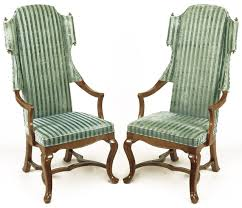Velvet Wingback Chair Pair Of Tall Wing Chairs In Cut Velvet Wwith Brass Finials By Jim