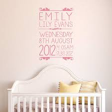 Baby Wall Decals For Nursery by Personalised Baby Wall Sticker By Oakdene Designs