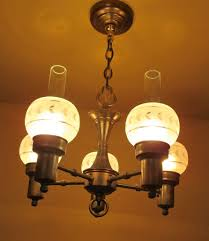 Colonial Chandelier 1930s Colonial Style Chandelier Cut Glass Shades