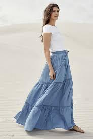 denim maxi skirt lightweight denim tiered maxi skirt sally