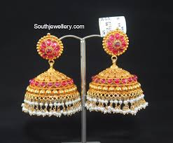 antique gold jhumka earrings antique gold ruby jhumkas jewellery designs