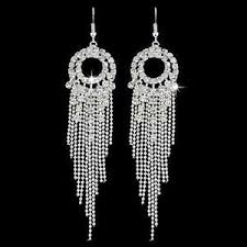 earrings uk drop earrings diamante bridal tassel rhinestone silver dangle