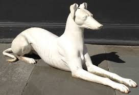 pair of late 19th century cast iron american greyhounds statues at