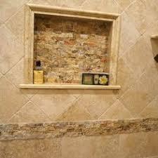 the new hardware and soap shelf travertine slate and slate shower